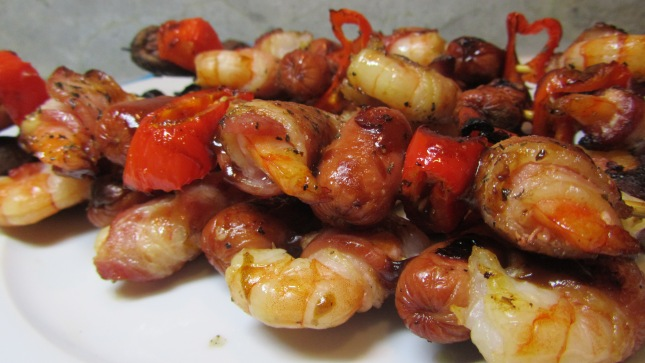 H and P Bacon Wrapped Shrimps and Diggity Dogs